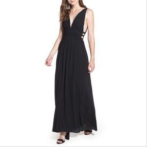 Wayf Black Plunging V-Neck Sleeveless CutOut Dress